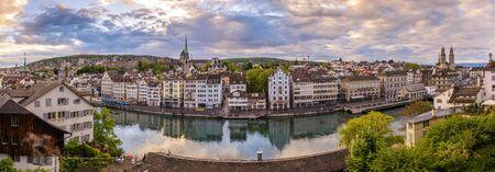 grossmunster cathedral: Zurich city skyline panorama at Limmat River and Grossmunster Church, Zurich, Switzerland