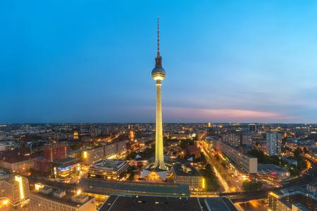 Berlin city skyline when sunset, Berlin, Germany