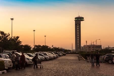 BANGALORE, INDIA - JANUARY 8, 2011 : Sunset at Bangalore Kempegowda International Airport, Bangalore, India Editorial