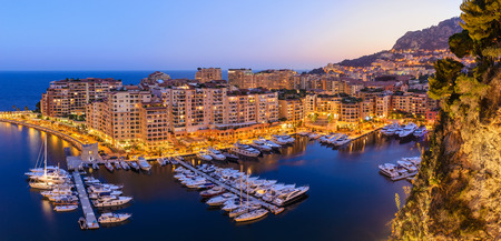 Monaco Ville Harbour night panorama city skyline, Monte Carlo, Monaco Stock Photo