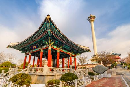 Busan city skyline at Yongdusan Park and Busan Tower, Busan, South Korea