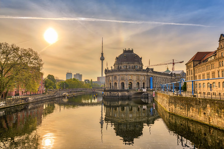 or spree: Berlin sunrise city skyline at Museum Island and Berline TV Tower, Berlin, Germany