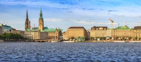 Hamburg old town panorama city skyline at Alster Lake, Hamburg, Germany Stock Photo