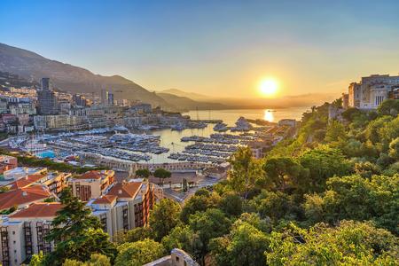 Monaco Ville Harbour sunrise city skyline, Monte Carlo, Monaco