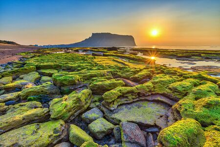 Sonnenaufgang bei Jeju Do Seongsan Ilchulbong, Jeju Island, Südkorea Standard-Bild - 93153708
