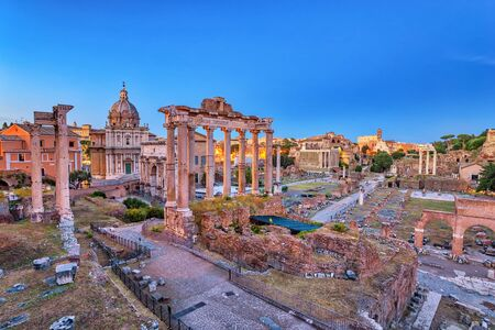 Rome night city skyline at Rome Forum (Roman Forum), Rome, Italy Foto de archivo