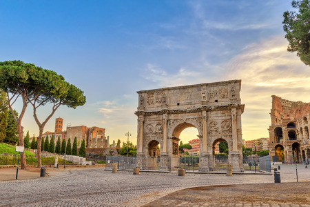 Rome sunrise city skyline at Arch of Constantine, Rome, Italy