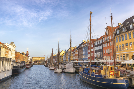 Copenhagen city skyline at Nyhavn harbour, Copenhagen Denmark
