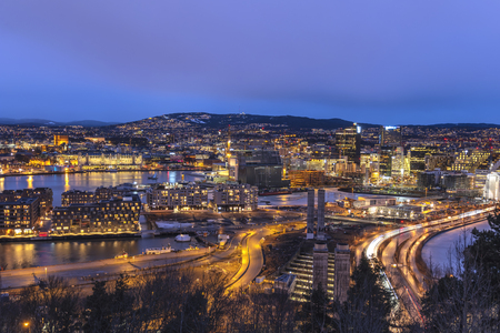 Oslo night aerial view city skyline at business district and Barcode Project, Oslo Norway 스톡 콘텐츠