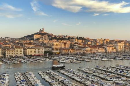 Marseille aerial view city skyline at Vieux Port and Notre-Dame de la Garde Basilica, Marseille France Stock Photo
