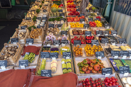 Munich, GERMANY - MAY 13, 2017: Munich Germany, vegetables shop at Victuals Market (Viktualienmarkt)
