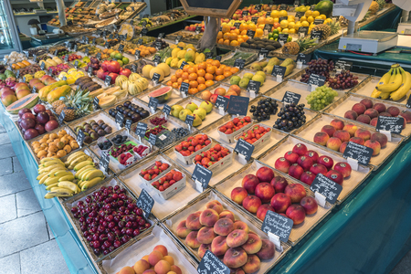 Munich, GERMANY - MAY 13, 2017: Munich Germany, fruits shop at Victuals Market (Viktualienmarkt)