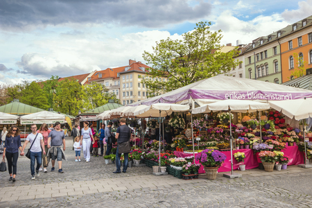 Munich, GERMANY - MAY 13, 2017: Munich Germany, flowers shop at Victuals Market (Viktualienmarkt)