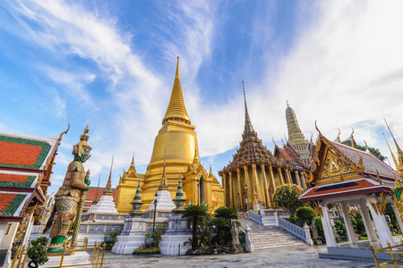 Bangkok Thailand, city skyline at Wat Phra Kaew temple