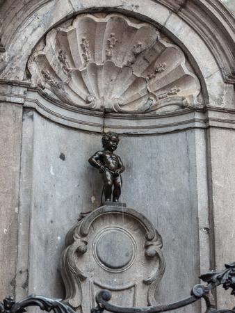 Brussels Belgium at Manneken Pis little man pee statue Zdjęcie Seryjne