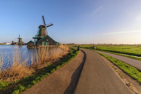 Rotterdam Netherlands, Dutch Windmill at Kinderdijk Village Stockfoto