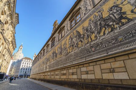 DRESDEN, GERMANY - MAY 11, 2017: Dresden Germany, city skyline at Procession of Princes (Furstenzug)