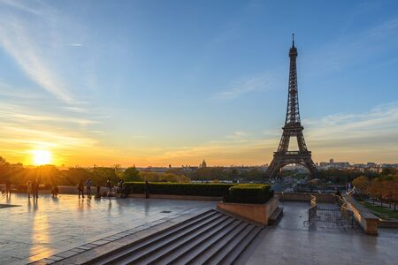 Paris France city skyline sunrise at Eiffel Tower and Trocadero Gardens Stock Photo