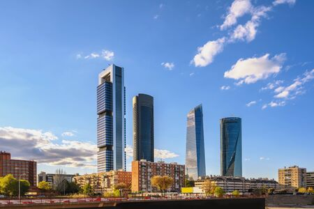 Madrid Spain, city skyline at financial district center with four towers