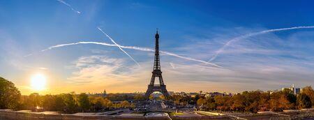 Paris France, panorama city skyline sunrise at Eiffel Tower and Trocadero Gardens