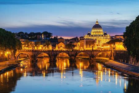 Rome Vatican Italy sunset city skyline at Tiber River