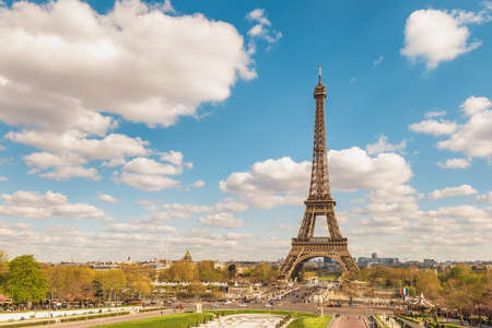 Paris France city skyline at Eiffel Tower and Trocadero Gardens