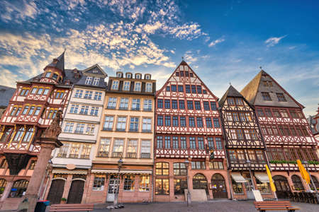 Frankfurt Germany, city skyline at Romer Town Square with half-timbered house