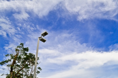 tree street lamp and blue sky Stock Photo - 10597602