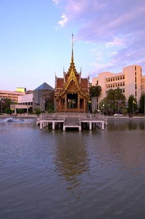 Thai avilion floating in water