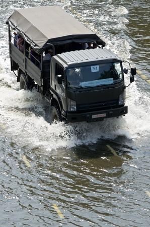 BANGKOK - NOV 10: worst flood disasters in 50 years hits Bangkok streets. Bangkok flooding, 10 November 2011