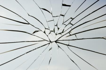 cristal roto: las grietas de vidrio laminado de seguridad