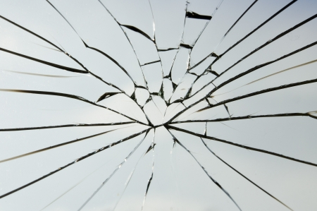the cracked of laminated safety glass Stock Photo - 11488331