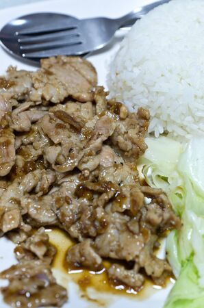 Thai fried pork with rice