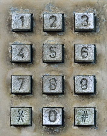 dial pad of public telephone box Stock Photo
