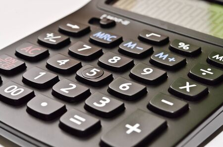the close up of black calculator