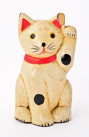 maneki: the old lucky cat made from wood Stock Photo