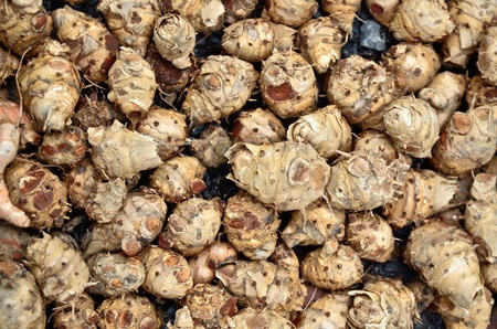 tuber: a lot of taro in basket close up