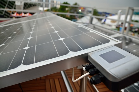 the solar cell and meter in cloudy day