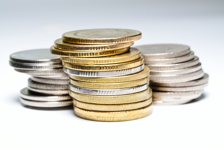 close up of coins with clipping path photo