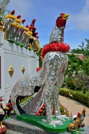 Chicken statue in temple of Thailand