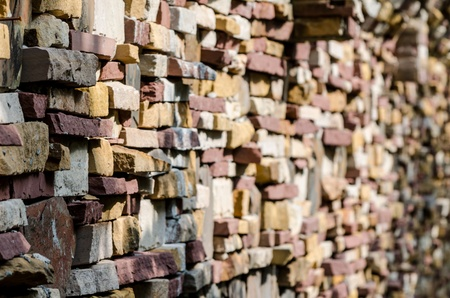 the design of brick on wall,fade focus