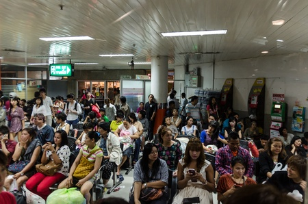 Bangkok, THAILAND - April. 12: crowd of thai people waiting at bus station to come back home for celebrate Thailand New year, April 12, 2012 in Bangkok, Thailand