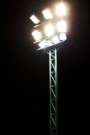 Stadium lights on a sports field at night Stock Photo