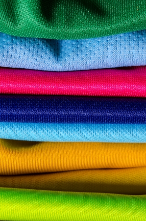 stack of color cloth close up shot photo
