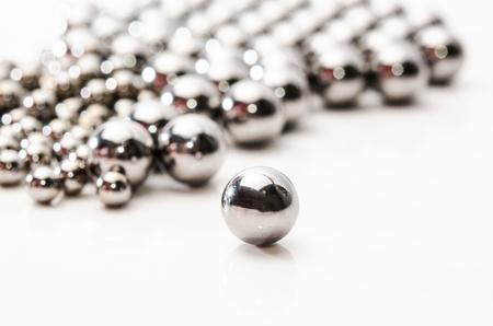 Metallic bearing balls on meta background Stock Photo