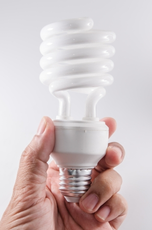 white energy saving bulb in hand