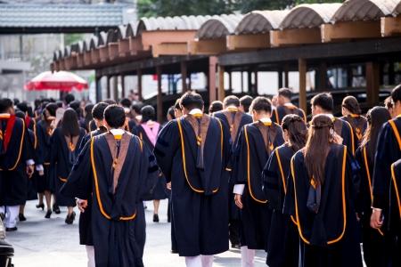 BANGKOK - March 1, 2012: Bangkok, Thailand. graduates of the Ramkumheang University walk towards Convocation Hall to receive their diplomas on March 1, 2013. Editorial