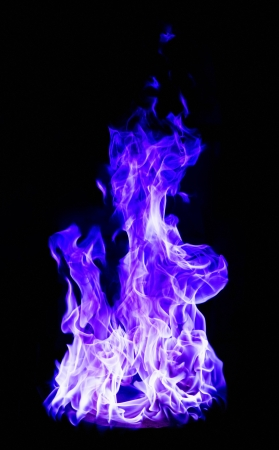 perfect blue fire on black background photo