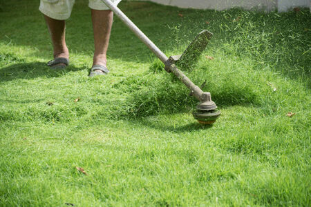 asia man mowing the grass