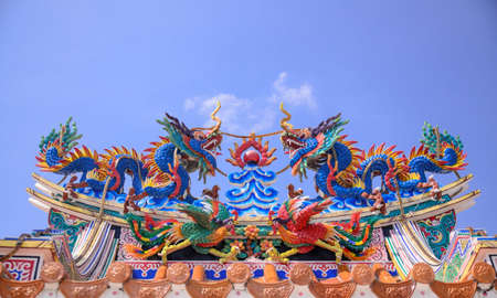 Chinese dragons on the temple roof